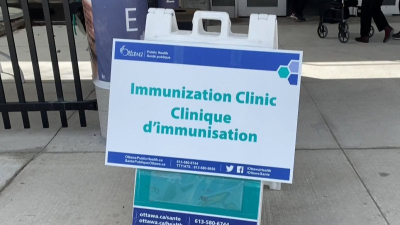 The COVID-19 vaccine immunization clinic at the Nepean Sportsplex in Ottawa, Ont. (CTV News Ottawa)