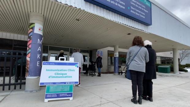 The Ottawa COVID-19 vaccine community clinic at the Nepean Sportsplex. (CTV News Ottawa)