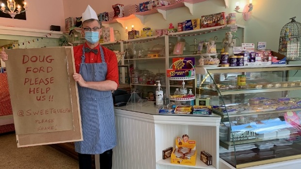 Bryan Munn, the owner of Sweet Candy and Ice Cream, says his application for financial assistance was denied (Natalie van Rooy / CTV News Kitchener)