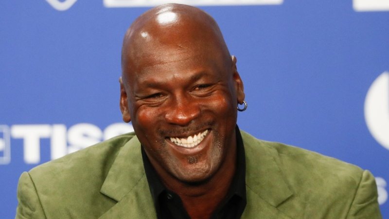Michael Jordan speaks during a news conference in Paris, on Jan. 24, 2020. (Thibault Camus / AP)