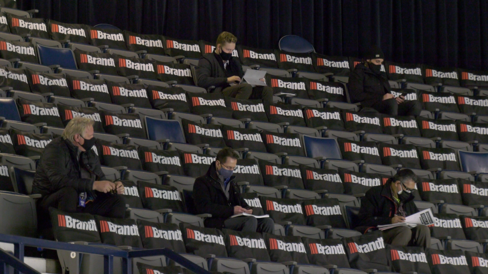 Scouts for dozens of NHL teams evaluate players at the Brandt Centre in Regina. (Claire Hanna/CTV News)