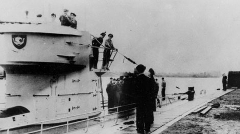 The German U-boat U-513 fired its torpedoes. The first ship to go down was the SS Saganaga. Minutes later, more torpedoes struck the SS Lord Strathcona.