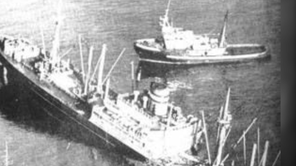 The MV Schiedyk ran aground and sank in Nootka Sound, on the west coast of Vancouver Island, in January 1968. (Bligh Island Shipwreck Unified Command)