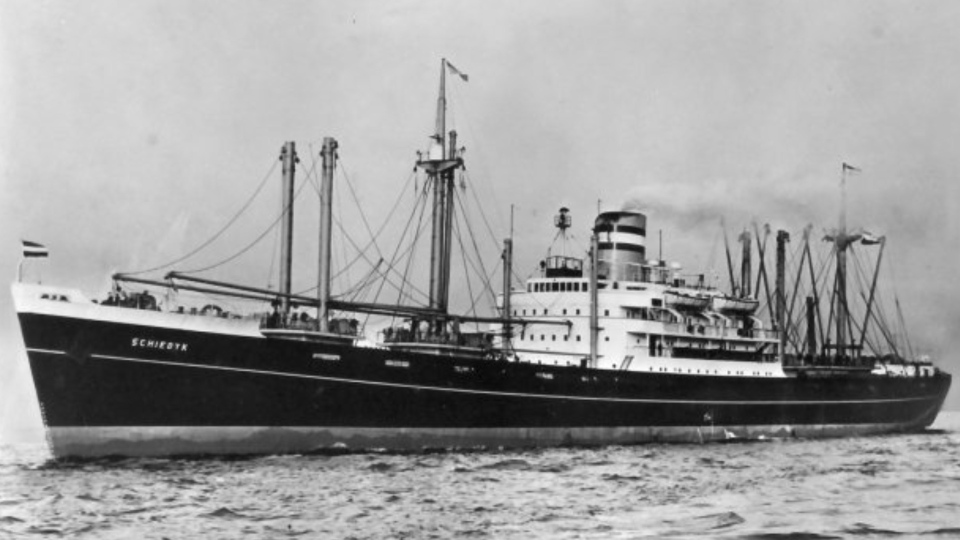 The 150-metre cargo ship MV Schiedyk ran aground and sank in Nootka Sound, on the west coast of Vancouver Island, in January 1968. (Bligh Island Shipwreck Unified Command)