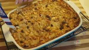 Apple and raisin kugel