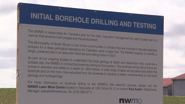 Borehole drilling sign near Teeswater, Ont. on March 31, 2021. (Scott Miller/CTV London)
