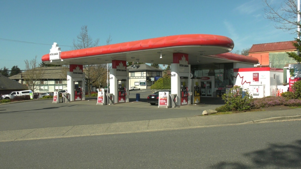 The Petro-Canada gas station on West Saanich Road in Saanich is pictured: March 31, 2021 (CTV News)
