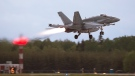 An RCAF CF-18 takes off from CFB Bagotville, Que. on Thursday, June 7, 2018. (THE CANADIAN PRESS/Andrew Vaughan)