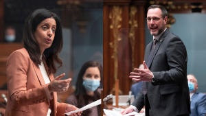 Quebec Liberal leader Dominique Anglade (left) is calling for Minister of Education Jean-Francois Roberge (right) to resign after false claims about CO2 monitoring in schools. THE CANADIAN PRESS/Jacques Boissinot