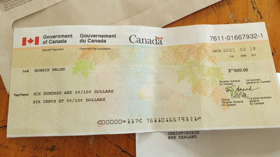 Bonnie Walsh cheque