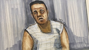 Yannick Bandaogo is shown in a sketch from a court appearance on April 1, 2021.