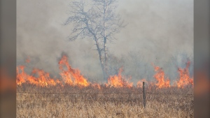 A grass fire broke out Thursday afternoon in southwest Manitoba near Carberry. (Source: Liam Pattison Photography)