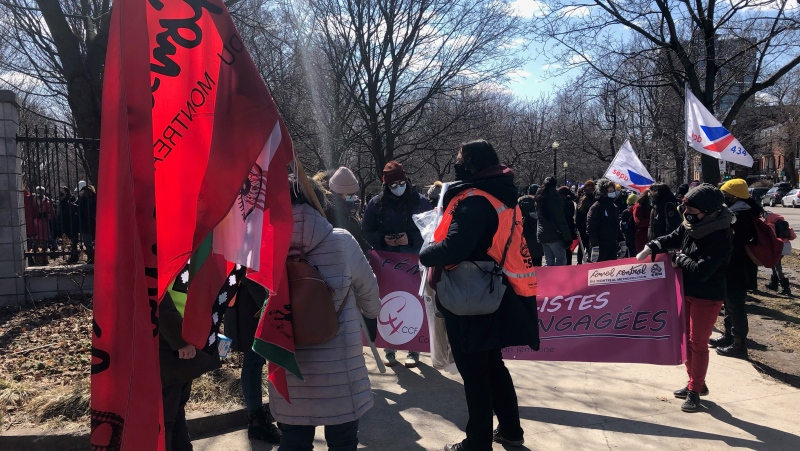 Demonstrators braved the cold in Montreal to march against the shocking rise in femicide in Quebec. (Billy Shields/CTV News)
