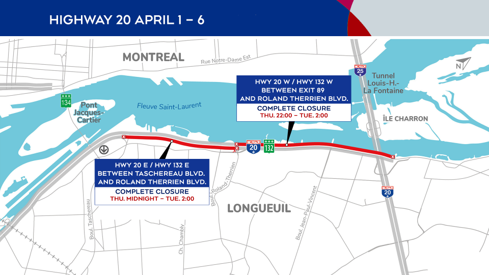 Highway 20 closures April 1-6