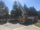 Emergency services are on scene of a structure fire at John Zubick Ltd, a recycling and scrap metal yard located at 105 Clarke road, April 02, 2021 (Brent Lale/CTV News)