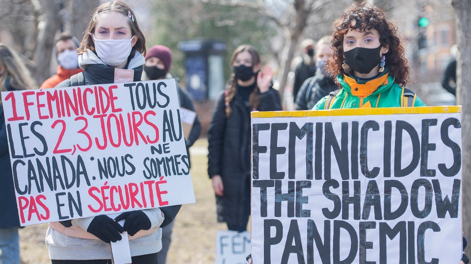 Two women protest femicides in Quebec