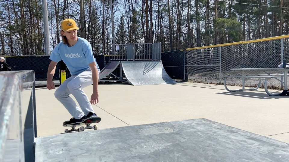 Kade Chaput says he gets out and skateboards seven days a week, weather permitting, but admits that it isn't always in Arnprior. (Dylan Dyson / CTV News Ottawa)