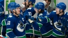 Vancouver Canucks centre Bo Horvat (53) celebrates his game winning shootout goal against the Montreal Canadiens in Vancouver, Monday, March 8, 2021. THE CANADIAN PRESS/Jonathan Hayward