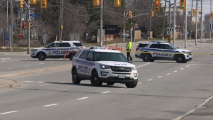 Ottawa police on the scene of an incident on Montreal Road during which a man armed with a sword was shot by an Ottawa police officer. The province's Special Investigations Unit has invoked its mandate to investigate. April 4, 2021. (Mike Mersereau / CTV News Ottawa)
