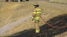 Edmonton Fire Rescue Services responded to two downtown grass fires in Edmonton Sunday, April 4, 2021 (Dave Mitchell/CTV News Edmonton).