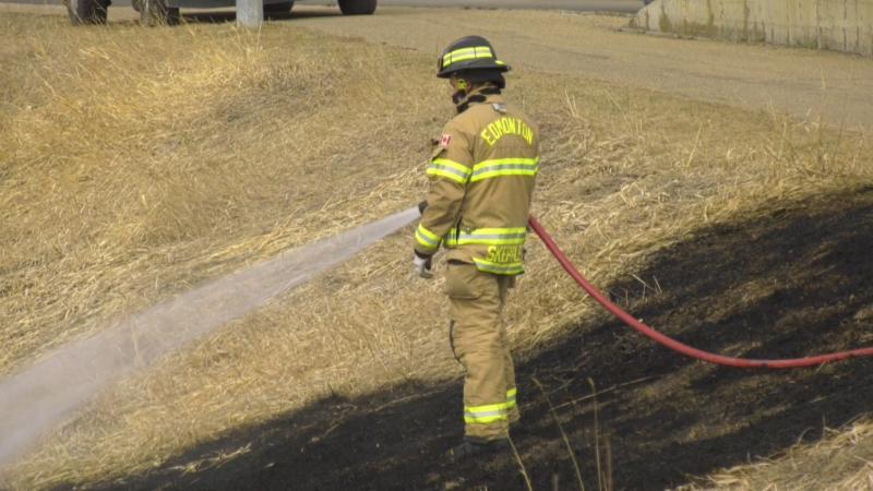 Edmonton Fire Rescue Services responded to two downtown grass fires in Edmonton Sunday, April 4, 2021 (Dave Mitchell/CTV News Edmonton).