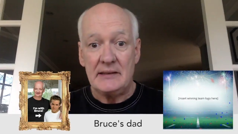 """Canadian comedian Colin Mochrie as """"Bruce's dad"""" in a tweet for the upcoming Crackup Comedy Festival. (@CrackUpFestival / Twitter)"""