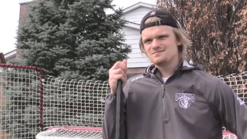 Mark Woolley Owen Sound Attack defenceman in his hometown of St. Thomas, Ont. on April 5, 2021. (Brent Lale/CTV London)