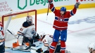 Montreal Canadiens' Josh Anderson celebrates his goal past Edmonton Oilers goaltender Mike Smith during third period NHL hockey action in Montreal on Monday, April 5, 2021 (Paul Chiasson/The Canadian Press).