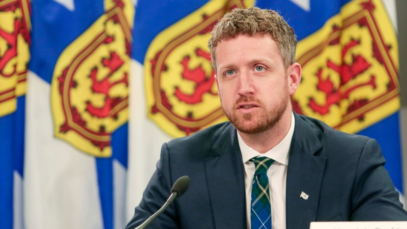 Nova Scotia Premier Iain Rankin speaks at a COVID-19 media briefing in Halifax on April 6, 2021.