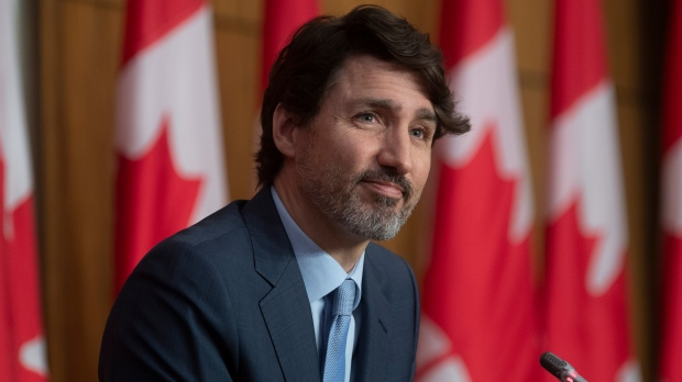 Prime Minister Justin Trudeau is seen during a news conference in the Parliamentary precinct on the COVID-19 pandemic, Tuesday April 6, 2021 in Ottawa. THE CANADIAN PRESS/Adrian Wyld