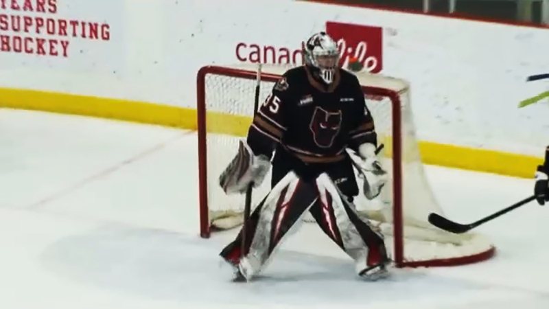 Calgary Hitmen goalie Brayden Peters is making the most of the pandemic-shortened 2021 WHL hockey season