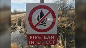 A sign warning of a fire ban near Zhoda, Man. (CTV News Photo Josh Crabb)