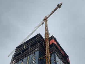 Though the building at 300 Main Street in Winnipeg is still under construction, it has already taken the top spot among the city's tallest towers. (Source: Danton Unger/ CTV News Winnipeg)