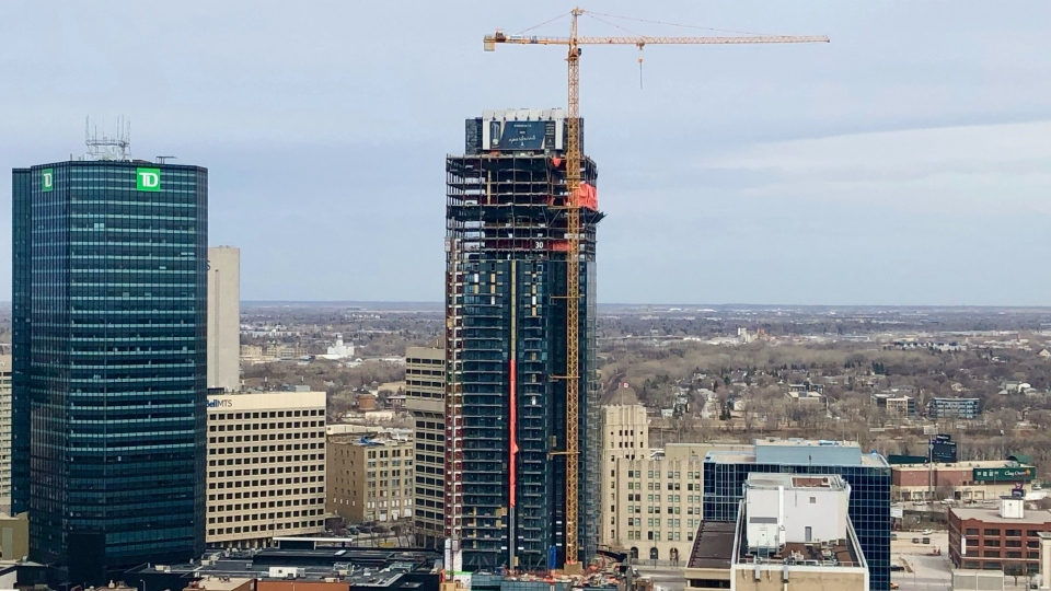 Though the building at 300 Main Street in Winnipeg is still under construction, it has already taken the top spot among the city's tallest towers. (Source: Mason DePatie/ CTV News Winnipeg)