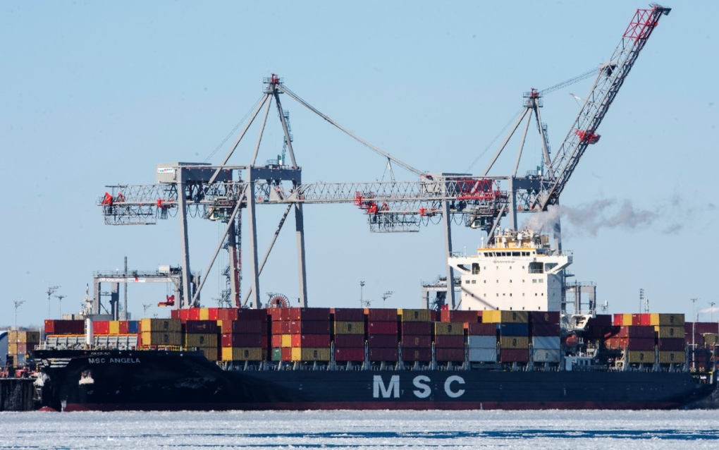 Container ship is docked in the Port of Montreal