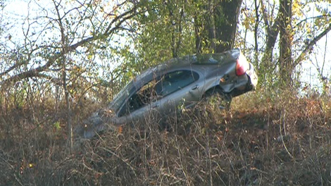 This car landed near the Humber River off of Stephen Drive near the South Kingsway and The Queensway on Saturday, Nov. 7, 2009.