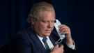 Ontario Premier Doug Ford speaks at a news conference at the Queens Park Legislature in Toronto on Wednesday, April 7 2021. The Province announced further lockdown restrictions in their latest effort to combat the spread of the COVID-19 virus. THE CANADIAN PRESS/Chris Young