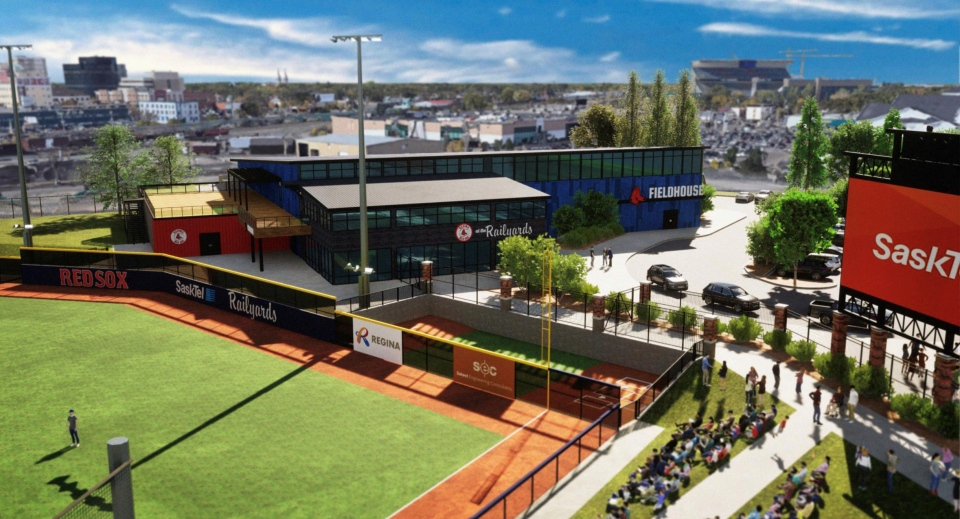 A concept sketch of the 3,500-seat baseball stadium proposed on Dewdney Ave. (Supplied: Regina Red Sox)