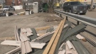 Guy Lamarche's bunkie has been torn down at a parking lot in Arnprior, Ont. (Dylan Dyson/CTV News Ottawa)
