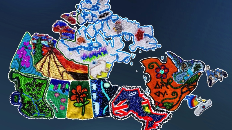 Beadwork by Amanda Laliberte, Ashley Copage, Ashley McKenzie-Dion, Didi Grandjambe, Jennelle Doyle, Joelle Charlie, Kyla Woodward, Lenore Augustine, Marissa Magneson, Mellz Compton, Monique Jolly, and Rena Laboucan. Graphical mock-up by Justin Romero. (Kooteen Creations, Facebook)