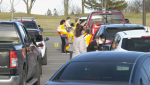 A COVID-19 drive-thru vaccination clinic was held in Kingston, Ont. Wednesday evening. (Kimberley Johnson/CTV News Ottawa)