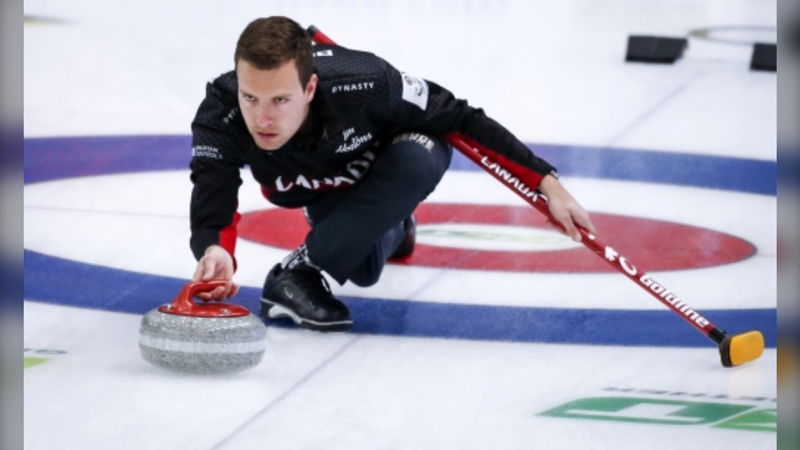 Team Canada skip Brendan Bottcher makes a shot against Russia at the Men's World Curling Championships in Calgary, Alta., Wednesday, April 7, 2021.(THE CANADIAN PRESS/Jeff McIntosh)