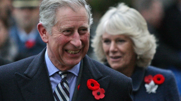 Prince Charles is followed by his wife, Camilla, Duchess of Cornwall, upon their arrival at the British Columbia Legislature in Victoria, B.C., on Friday, Nov. 6, 2009. (Darryl Dyck / THE CANADIAN PRESS)