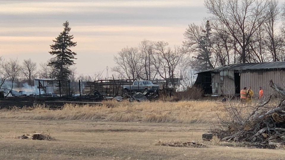 Several structures have been destroyed after a grass fire broke out just west of Lorette Wednesday evening. (Source: Jamie Dowsett/CTV News)