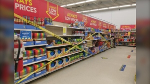 Section of New Sudbury Walmart blocked off after newest stay-at-home orders went into effect. April 8/21 (Amanda Harte)