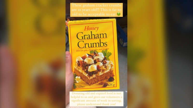 A box of 21-year-old graham cracker crumbs that were donated to the Parkdale Community Food Bank recently are shown. (Instagram)