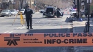 Police investigate a fatal collision involving a cyclist and a vehicle near the intersection of Papineau Avenue and St-Joseph Boulevard in Montreal on April 8, 2021. Andrew Brennan/CTV News