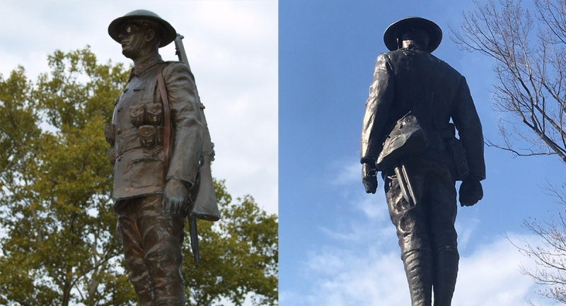 The statue of 'Tommy' on Sarnia, Ont.'s cenotaph is seen before and after his rifle was stolen in April 2021 in this composite image. (Source: Sarnia Police Service - Sean Irvine / CTV News)