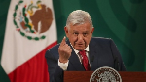 Mexican President Andrés Manuel López Obrador gives his daily morning press conference at the National Palace in this March 24, 2021file photo. López Obrador said Thursday he now plans to get the AstraZeneca coronavirus vaccine to boost confidence in the shot after it was linked to a rare blood-clotting disorder. (AP Photo / Marco Ugarte)