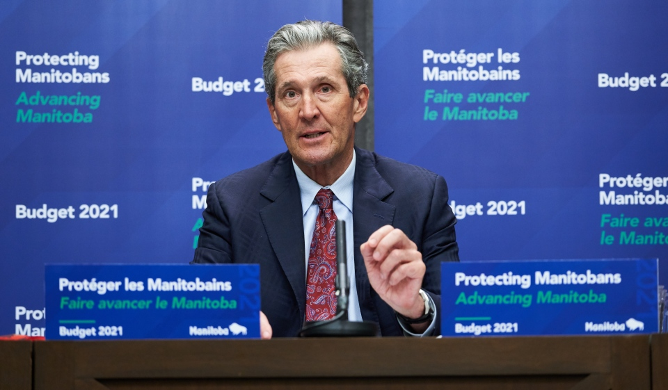 Premier of Manitoba Brian Pallister speaks at a news conference after the 2021 budget was delivered at the Manitoba Legislative Building in Winnipeg on Wednesday, April 7, 2021. THE CANADIAN PRESS/David Lipnowski